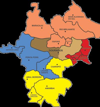 Mapa das Foranias Diocese de Dourados